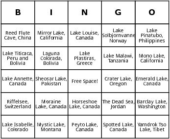 25 most beautiful lakes of the world bingo cards