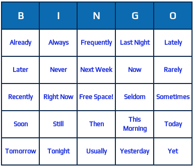 these are adverbs bingo cards they consist of 25 english adverbs such ...