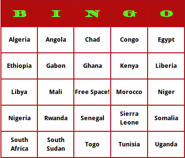 african countries bingo cards