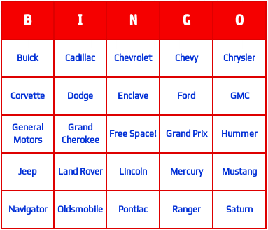 American Vehicles Bingo Cards