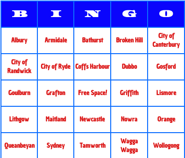 Australian cities bingo cards
