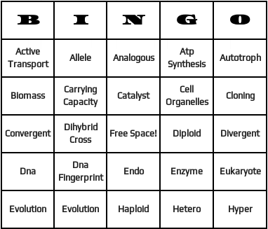 biology terms bingo cards