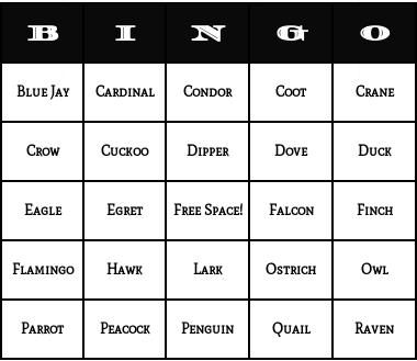 brids bingo cards