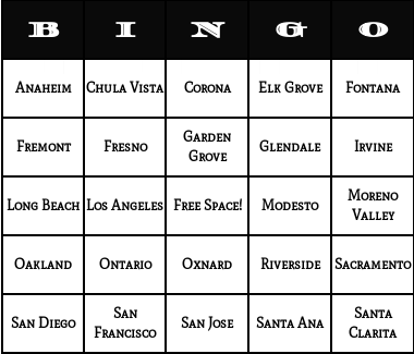 california cities bingo cards