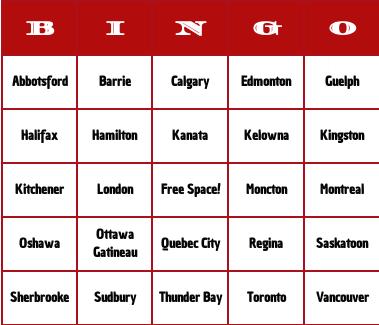 Canadian cities bingo cards