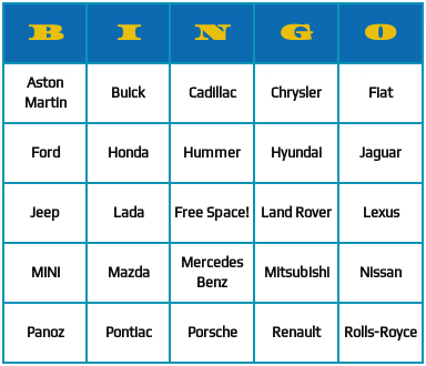 card brands bingo cards