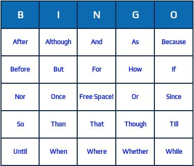 conjunctions bingo cards