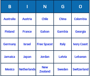 countries bingo cards