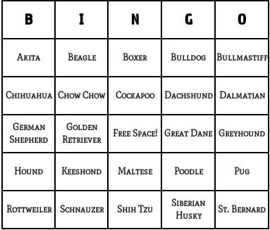 dog breeds bingo cards