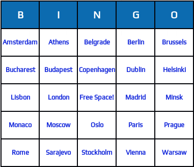 Words for european capitals bingo cards
