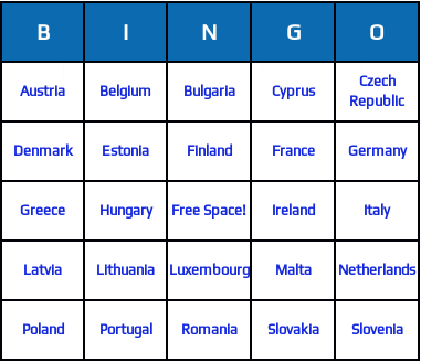 european union countries bingo cards