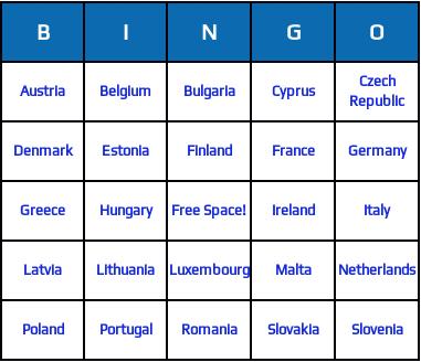 european union countries bingo cards