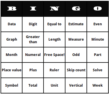 first grade math terms bingo cards