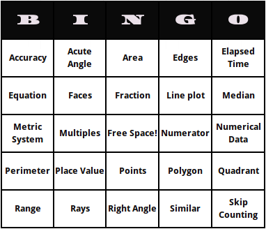 4th Grade Math Terms Bingo Cards