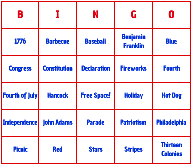 Fourth of July bingo cards