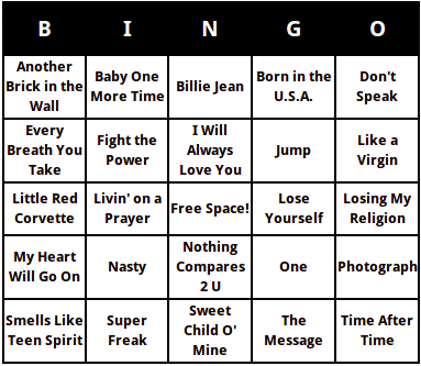 Greatest songs of the past 30 years bingo cards solutioingenieria Choice Image