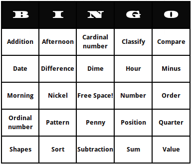 Kindergarten math terms bingo cards