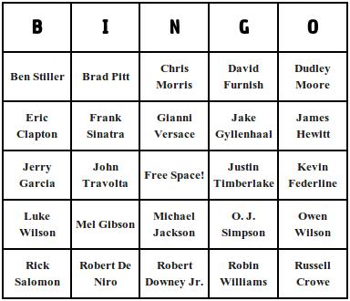 Celebrity bingo cards