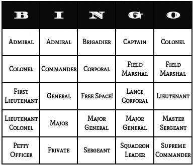 military ranks bingo cards
