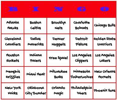 NBA basketball teams bingo cards