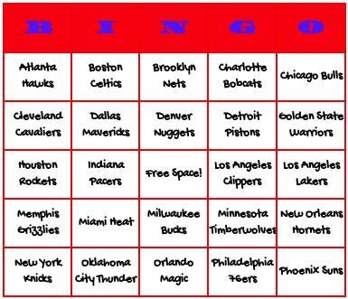 NBA basketball teams bingo cards