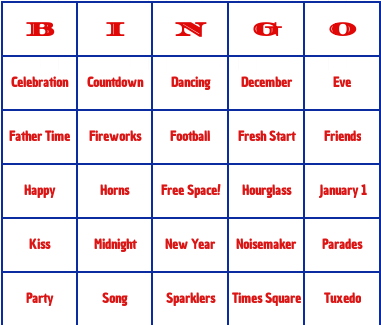 new years day bingo cards