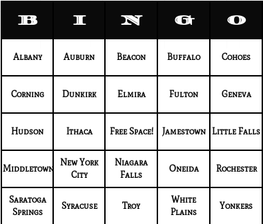 new york cities bingo cards