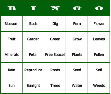 Plants Bingo Cards