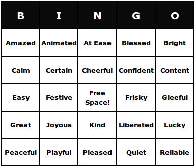 pleasant feelings bingo cards