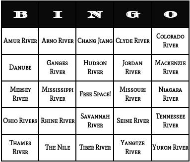 rivers bingo cards