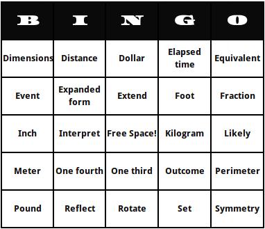 second grade math terms bingo cards