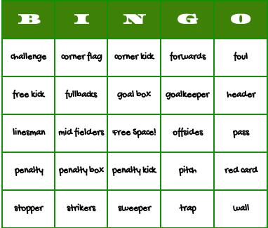 soccer bingo cards