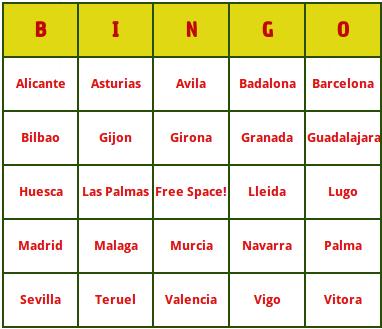 spanish cities bingo cards
