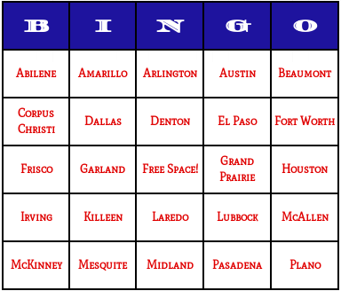 texas cities bingo cards
