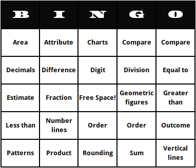 Third grade math terms bingo cards