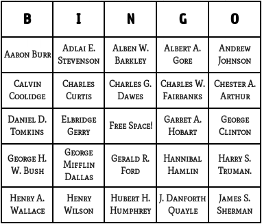 u.s vice presidents bingo cards