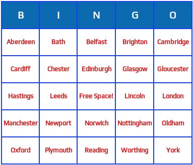 United Kingdon cities bingo cards