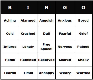 unpleasant feelings bingo cards