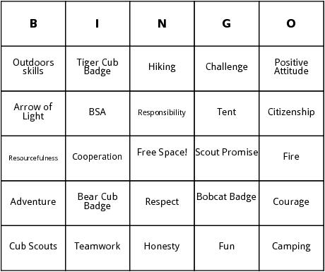 boy scouts bingo cards