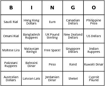 currencies bingo cards