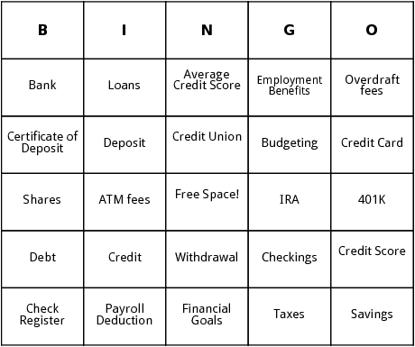 finances bingo cards