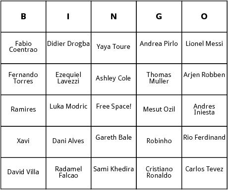 football players bingo cards