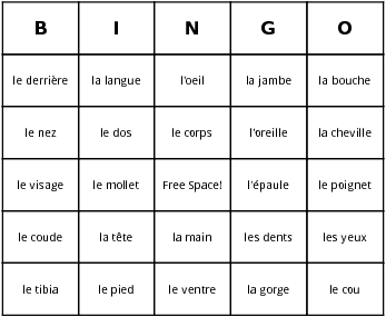 french body parts bingo cards
