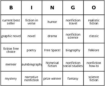 literary bingo cards