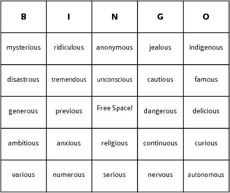 Ous ending words bingo cards