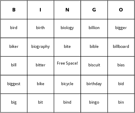Words Beginning with bi Bingo Cards